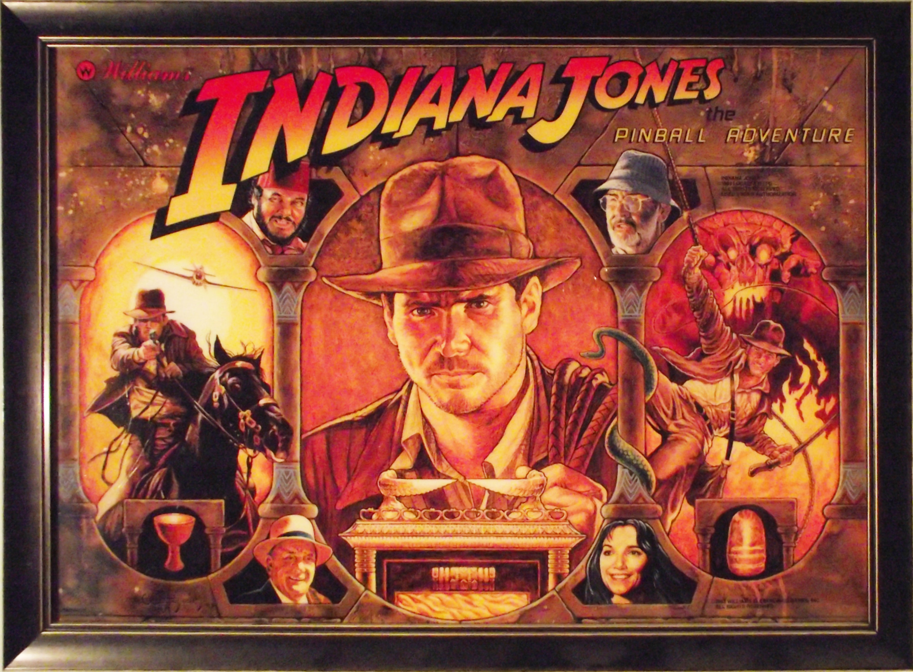 Indiana Jones pinball backglass art
